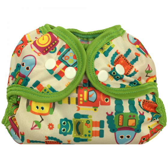 Bummis Simply Lite Adjustable Size Diaper Cover- Vintage Robots