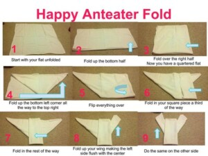 Flat cloth diaper anteater fold